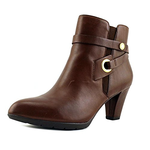 Anne Klein Womens Chelsey Leather Closed Toe Ankle, Cognac Leather, Size 5.0