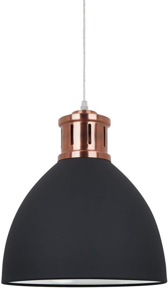 Italux Lola - Lámpara colgante industrial y retro de grafito, cobre rojo 1 luz con pantalla de grafito, E27