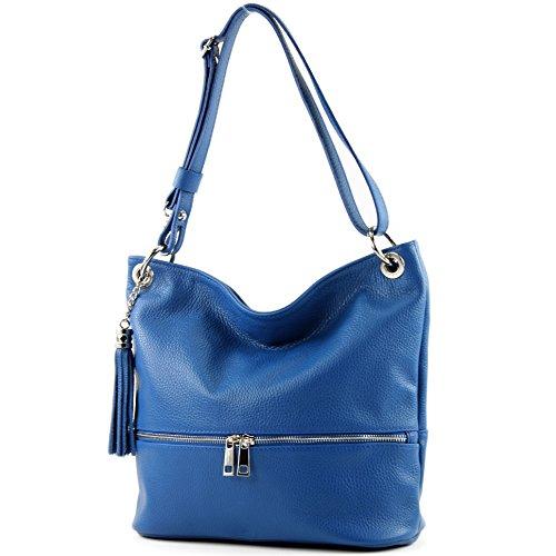 Leather Blue Modamoda bag Leather Shoulder bag bag de Shoulder T143 bag ital 8n4rSP8