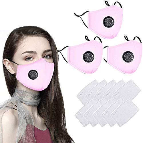 Navnika® 3 PCS Pink Reusable Face Masks with Vent, Washable UK Dust Face Mask with Filter for Motorcycle Bicycle Running…