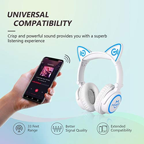 MindKoo Bluetooth Headphones, Over-Ear Wireless Headphones, Cat Ear Headphones with 7 Colors LED Light, Foldable, Built-in Microphone and Volume Control for PC/Cell Phones/Kids/Teen/Boys/Girls/Adults