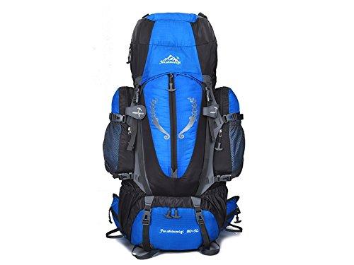 OHlive Grosse Kapazität Große Kapazität professionelle Bergsteigen Tasche 85L wasserdichte Aufhängung im Freien Bergsteigen Tasche (blau)