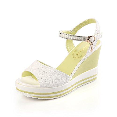 La De Pente Dames Blanc De La Sandales unie Étanche Chaussures Plate Talon SHOESHAOGE Forme Couleur Avec wqIxaSEYE