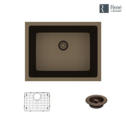 R3-1004-UMB-ST-CGF Umber Single Bowl Quartz Kitchen Sink with Grid and Matching Colored Flange by Elkay (Image #8)