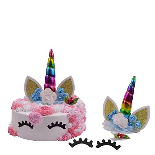 Unicorn Cake Topper Set,LQQDD Unicorn Party Supplies Reusable Unicorn Handmade Horn Ears Eyelash Flowers and Unicorn Gifts Leaf Unicorn Party Favors for Girls,Baby Shower,Wedding and Birthday ()