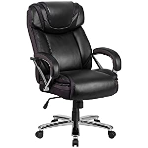 Flash Furniture HERCULES Series Big & Tall 500 lb. Rated Leather Executive Swivel Chair with Extra Wide Seat