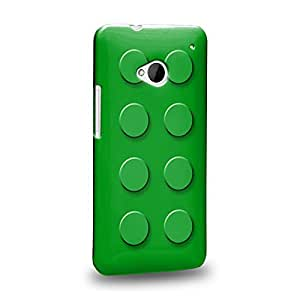 Case88 Premium Designs Art Green Building Blocks Bricks Protective Snap-on Hard Back Case Cover for HTC One M7