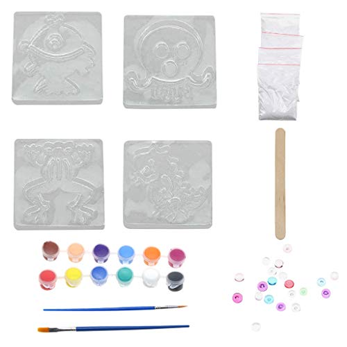 (Binory Plaster Painting, DIY Plaster Stones Painting Design Crafting Decorate Design Gift for Children Kids, Mix & Mold Creat Your Own Plaster)