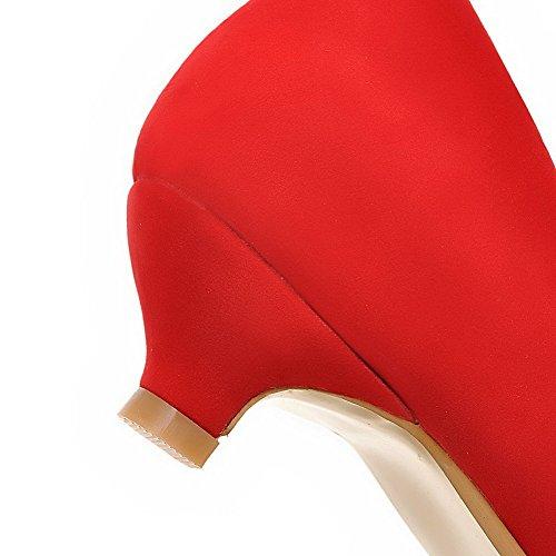 Tacón Punta Con Cordones Puntera En Pompones Mujeres Salón Sólido Cerrada Rojo De Aalardom Mini Sin nxz7BEF