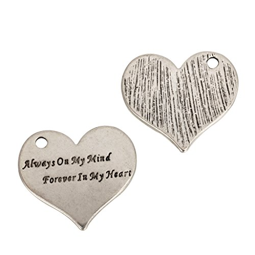 Forever My Heart Necklace Charms (5 x Always on My Mind Forever in My Heart Charms 24x22mm Antique Silver Tone #mcz1181)
