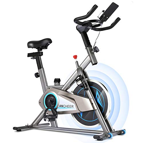 ANCHEER Indoor Cycling Bike Stationary - Cycle Bike, Belt Drive Indoor Exercise Bike with APP Control & Ipad Mount & Comfortable Seat Cushion (Grey) Ancheer