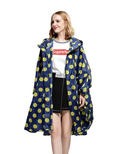 (Rain Poncho for Women Stylish Hooded Waterproof with Zipper Outdoor Bike Hike Rain Jacket Unisex Blue Yellow Dots One Size)