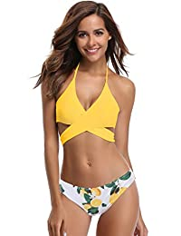 SHEKINI Women's Padded Floral Printing Bottom Two Piece Halter Bikini Swimsuit