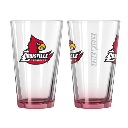 NCAA Louisville Cardinals Elite Pint Glass, 16-ounce, 2-Pack Cardinals Pint Glass