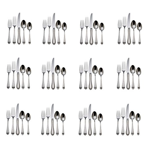 Reed & Barton Hammered Antique 18/10 Stainless Steel - 60 Piece Set (Service for Twelve)