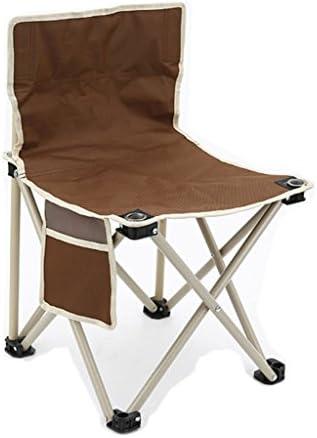 背もたれ折りたたみチェアポータブル折り畳み式釣りチェアホーム屋外キャンプ用ピクニックバーベキュー折り畳み式スツール持ち運びに便利な耐久性のある耐久性のあるハンドバッグ (Color : Brown, Size : L45*W45*H74cm)
