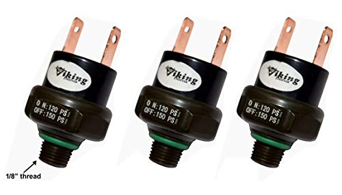 Air Pressure Switches Viking Horns VPS-150PSI//3 Rated 120//150 Three-Unit-Deal for Train Horns