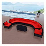 K&A Company Outdoor Furniture Set, 11 Piece Garden Lounge Set with Cushions Poly Rattan Red