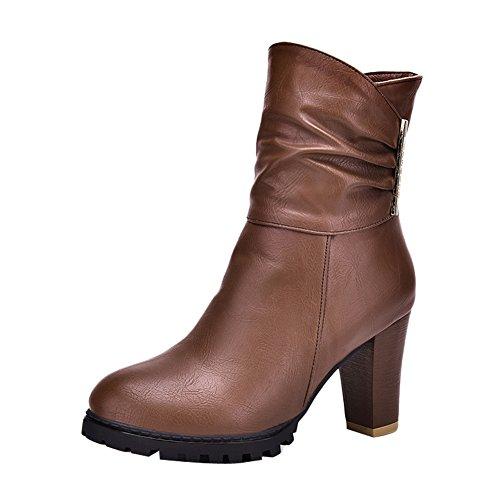 Latasa Womens Pleated Block High Heels Short Boots Brown OHQhGDqpK