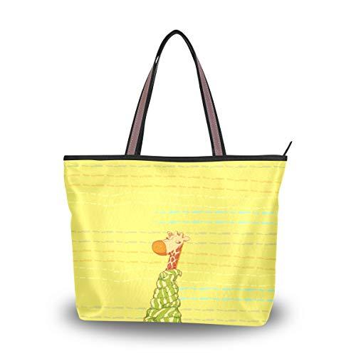 Cool Giraffe Comfortable Yellow Women Large Travel Tote Work Tote Shoulder Bag Purse