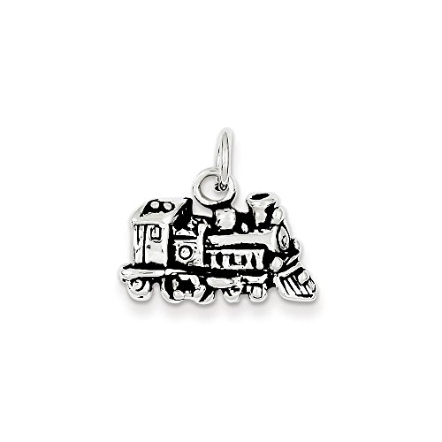 10k Gold Solid Train (Sterling Silver Antiqued Train Charm Pendant)