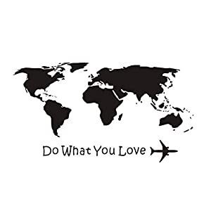 xlei Etiqueta De La Pared Haz Lo Que Amas Aeroplano Pegatinas De Pared Mapa del Mundo Decoración para El Hogar Sala De Estar Vinilos De Pared De Vinilo DIY Extraíble106X59Cm