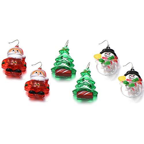 OAONNEA 6 Packs LED Light Up Earrings Santa Claus Christmas Tree Snowman Flashing Earrings Xmas Holiday Party Favors (3-Packs Earrings) -