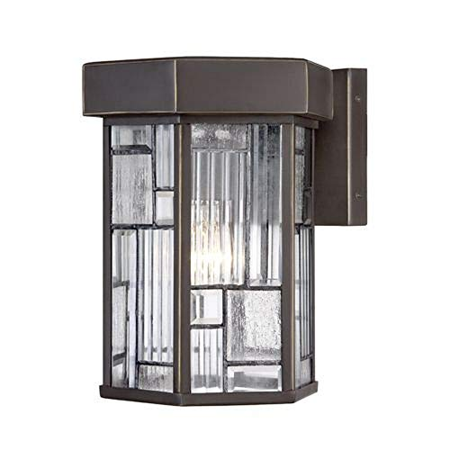 Designers Fountain 32131-ABP 10 Inch Wall Lantern, Aged Bronze Patina Finish with Clear, Seedy & Ribbed Shade