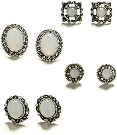 4 pares de pendientes vintage de piedra de luna, piedras preciosas