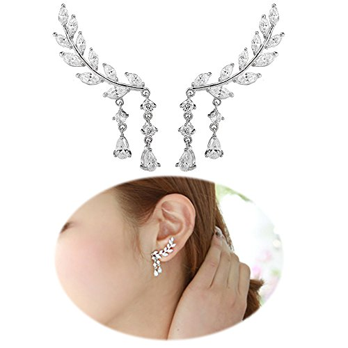 Ear Climber Earrings Leaves Crawler Chandelier Ear Cuff Vine Wrap Pin Crystal Pierced Stud Tassel Jewelry Silver (Vintage Pin Earrings)