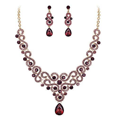 EVER FAITH Women's Crystal Elegant Bridal Floral S-Shaped Drop Necklace Earrings Set Purple Gold-Tone