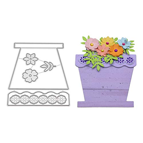 Hukai Flower Basket Metal Cutting Dies Stencil DIY Scrapbooking Album Stamp Paper Card Embossing Craft Decor,Good Gift for Your Kids to Cultivate Their Hands-on Ability