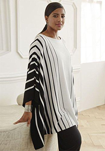 Jessica-London-Womens-Plus-Size-Striped-Poncho-With-Boat-Neckline