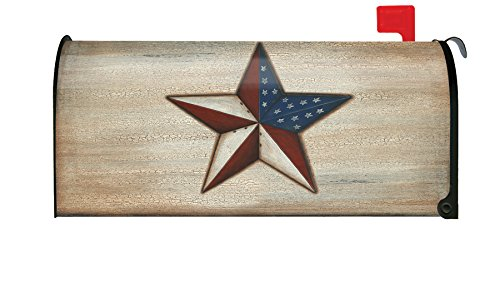 (Toland Home Garden American Star Rustic Patriotic USA Stars Stripes Magnetic Mailbox Cover)