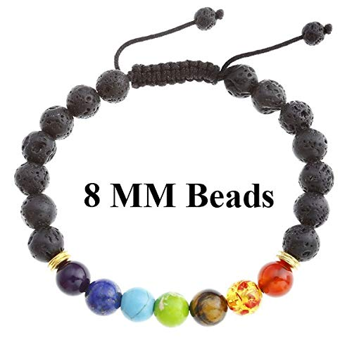 Amazon.com: 7 Chakra 8-10mm Lava Rock Beads Healing Point ...