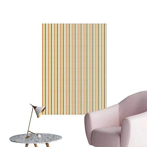 Wall Decals Nostalgic 60s 70s Fashion Stripes Vertical Image Marigold Orange Brown and Light Grey Environmental Protection Vinyl,24
