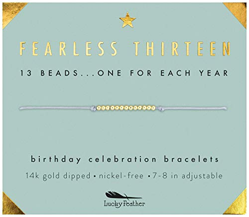 Lucky Feather Gifts for 13 Year Old Girl - 13th Birthday Bracelet with 14K Gold Dipped Beads on Adjustable 7