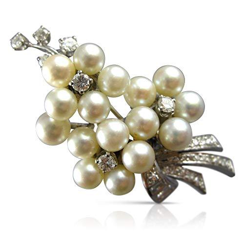 - Milano Jewelers Large 1.50CT Old Mine Diamond & AAA Pearl Platinum 3D Brooch PIN 23635
