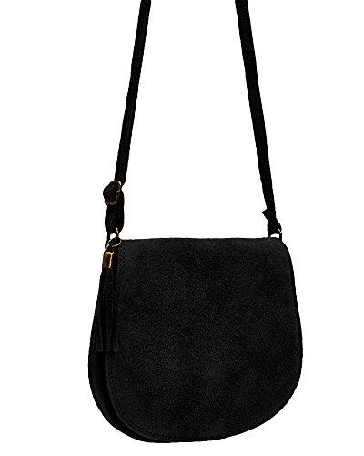 3140bd3b6e89 ImiLoa Ledertasche klein schwarz Lederhandtasche kleine Umhängetasche  Fransen Leder Tasche Wildleder Handtasche 36-bl  Amazon.de  Schuhe    Handtaschen