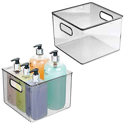 (mDesign Storage Bins with Built-in Handles for Organizing Hand Soaps, Body Wash, Shampoos, Lotion, Conditioners, Hand Towels, Hair Accessories, Body Spray, Mouthwash - 8