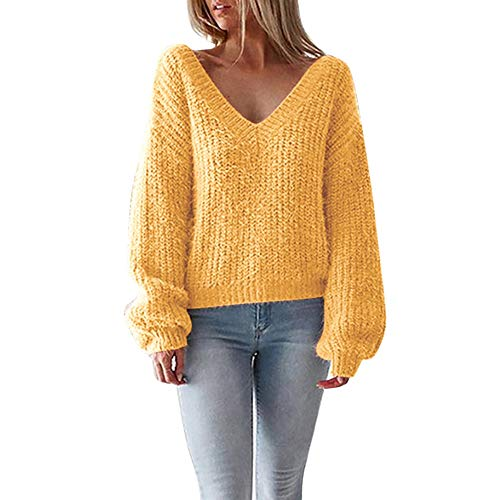 Gap V-neck Sweater - Women Tops, Owill Sexy V-Neck Sweater Casual Leak Back Knitted Loose Long Sleeve Pullover (M, Yellow)