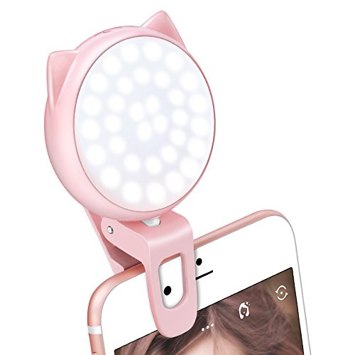 LED Ring Light for Makeup and iPhone, Clip on Selfie Light with Rechargeable Battery, 32 LED Bulbs, 3-Level Brightness, Mini Size, USB Operated, Cute Portable Phone Light for Video, Camera, Pink