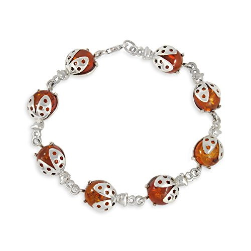 WithLoveSilver 925 Sterling Silver 8 Natural Ambers Ladybugs Link Bracelet, -