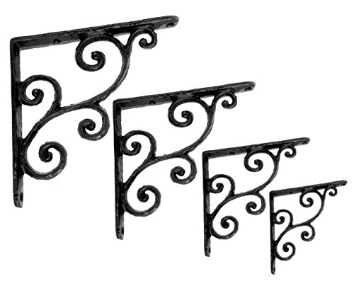 NACH js-90-071 Rustic Decorative Shelf Bracket (Pack of 4), Small, Black  (5.5x0.7x5.5 inches) (Decorative Brackets)