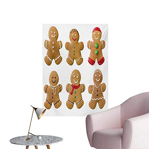 Homemade Wallpaper - Anzhutwelve Gingerbread Man Photographic Wallpaper Vivid Homemade Biscuits Sugary Xmas Treats Sweet Tasty PastryPale Brown Red Green W24 xL32 Poster Print