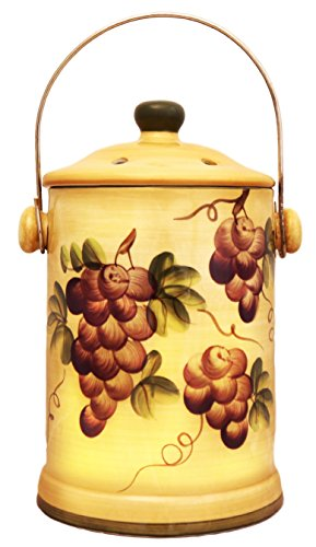 Tuscany Grape Wine Home Decor Hand Painted Ceramic Compost Jar, 82594 By ()