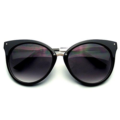 Pointed Horn Rimmed Indie Retro Cat Eye Sunglasses Metal Studs - Eyewear Indie