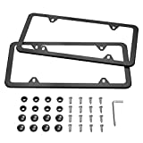 Automotive : Karoad Black License Plate Frames, 2 PCS Stainless Steel Car Licence Plate Covers Slim Design with Bolts Washer Caps for US Standard (4 Holes)