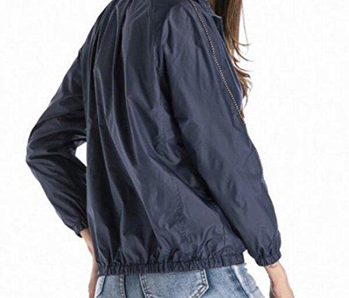 Solid MU2M Casual Blue Womens Windbreaker Jacket Slim Fall Lightweight Fit Zipper 7U7ExrqvF