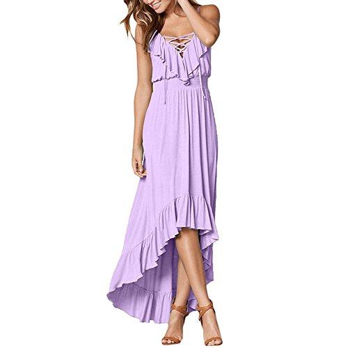 Trim Criss Cross Dress (Lrud Women's Sleeveless Sexy Halter V-Neck Ruffle High Low Maxi Party Dress Lilac-S)